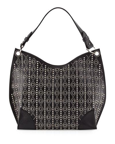 Small Studded Legend Hobo Bag, Black