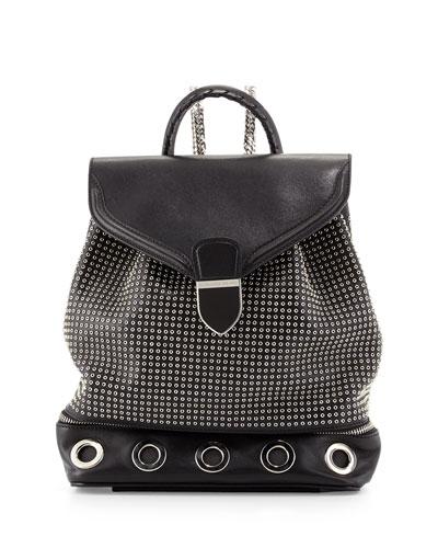 Legend Studded Chain-Strap Backpack, Black