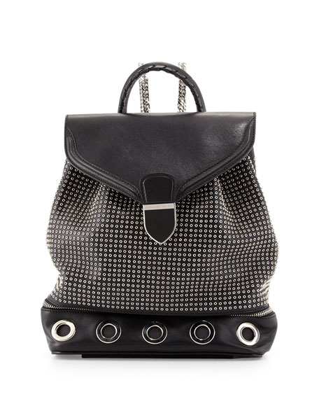 Legend Studded Chain-Strap Backpack, Black