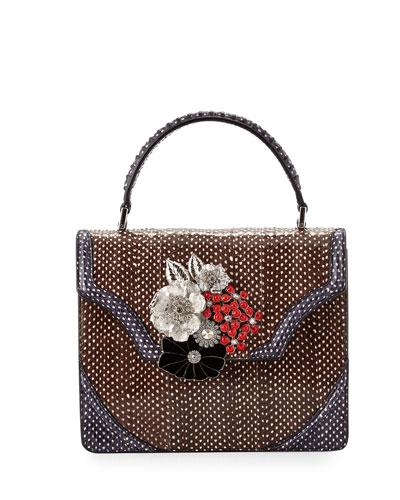 Polka-Dot Snakeskin Satchel Bag w/Floral Brooch