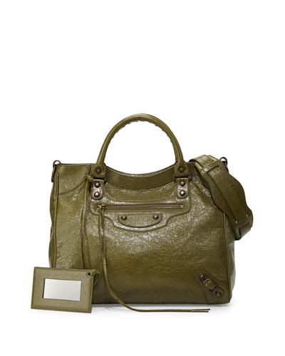 Classic Velo Lambskin Crossbody Bag, Olive Green