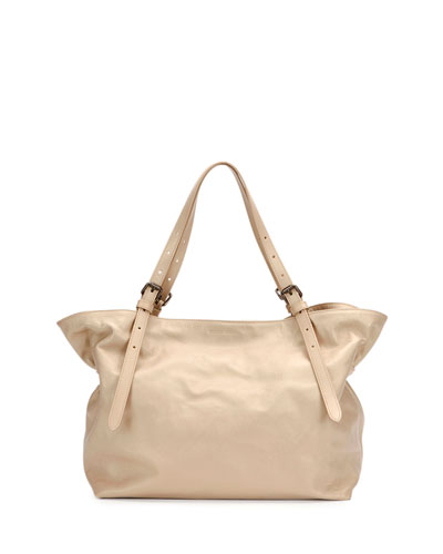 Buckled-Strap Leather Tote Bag, Chino Metallic