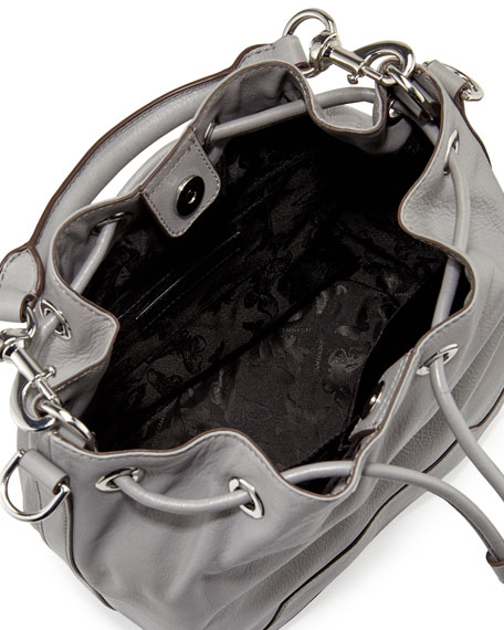 Fiona Leather Bucket Bag, Charcoal/Silver