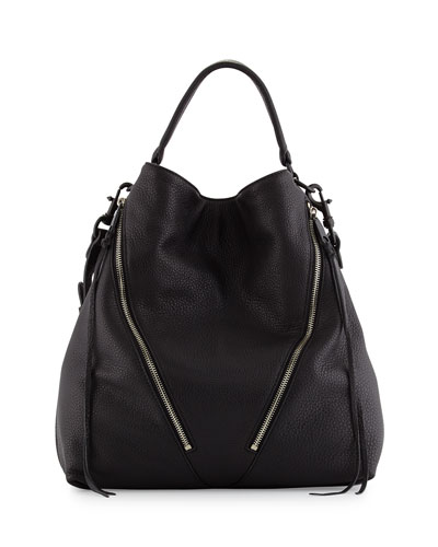 Moto Leather Hobo Bag, Black