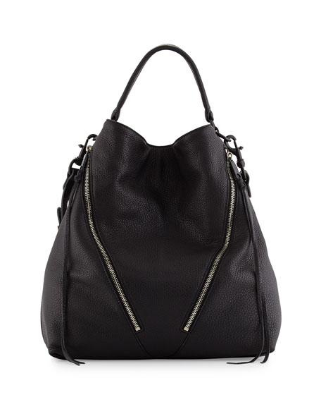 Rebecca Minkoff Moto Leather Hobo Bag, Black