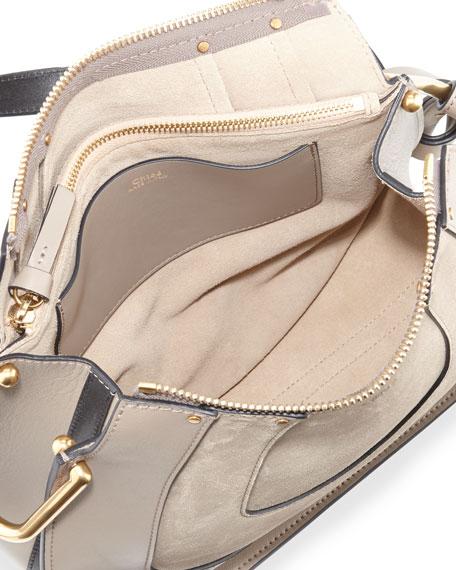 Hayley Small Suede Hobo Bag, Gray