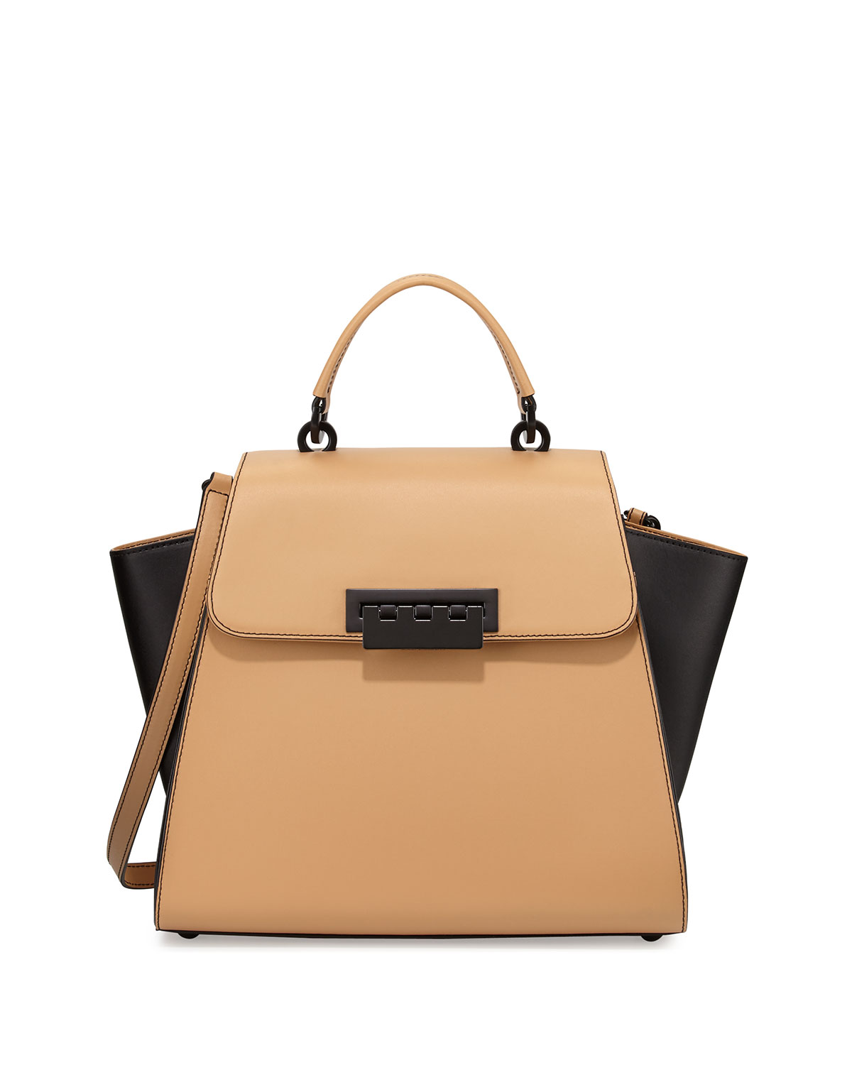 Eartha Colorblock Leather Tote Bag Camel