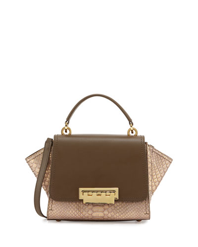 Eartha Mini Crossbody Leather Bag, Olive