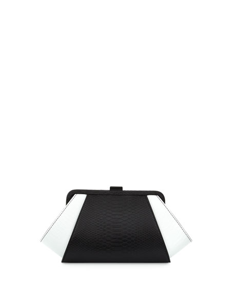Posen Snake-Embossed Evening Clutch Bag, Black/White