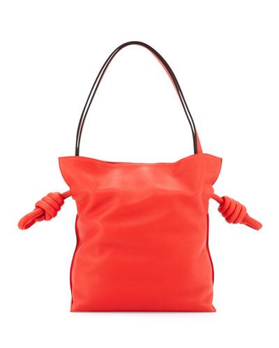 Flamenco Small Knot Bucket Bag, Red