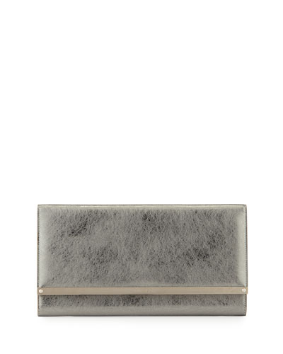 Maia Metallic Leather Clutch Bag, Silver
