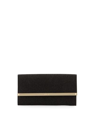 Milla Large Glitter Clutch Bag, Black