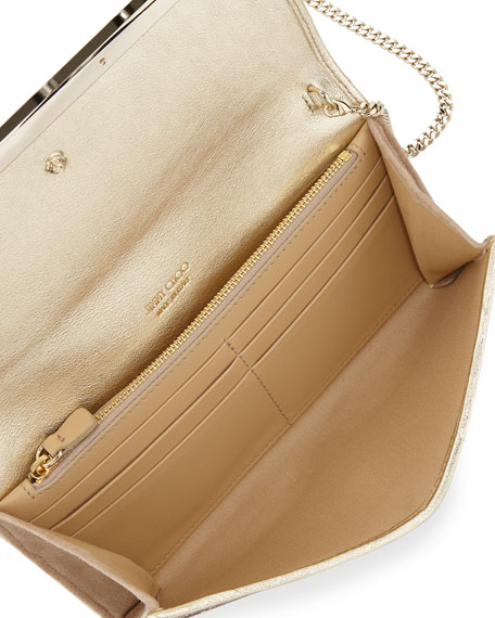 Milla Large Glitter Clutch Bag, Nude