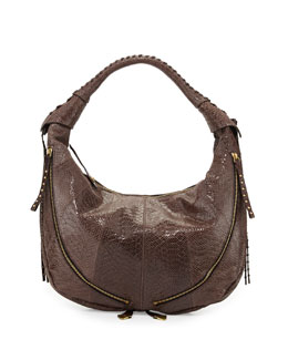 Jasmine Anaconda-Print Leather Hobo Bag, Mushroom