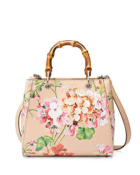 Gucci Bamboo Shopper Mini Blooms Crossbody Bag, Nude