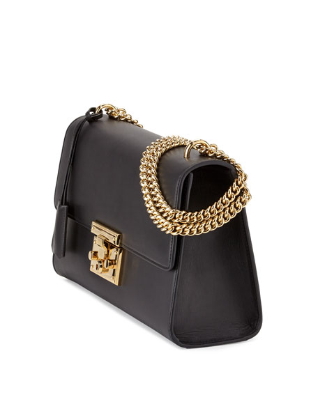 Padlock Leather Shoulder Bag, Black