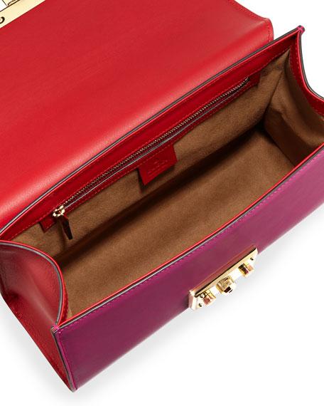 Linea C Leather Lock Shoulder Bag, Red/Pink