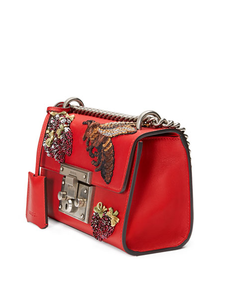Padlock Small Embroidered Shoulder Bag, Red/Multi