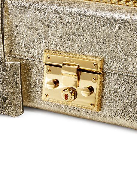 Padlock Small Metallic Shoulder Bag, Gold