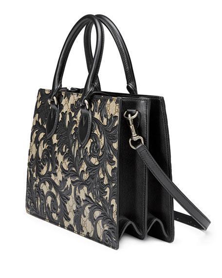 Arabesque Canvas Top Handle Bag, Black