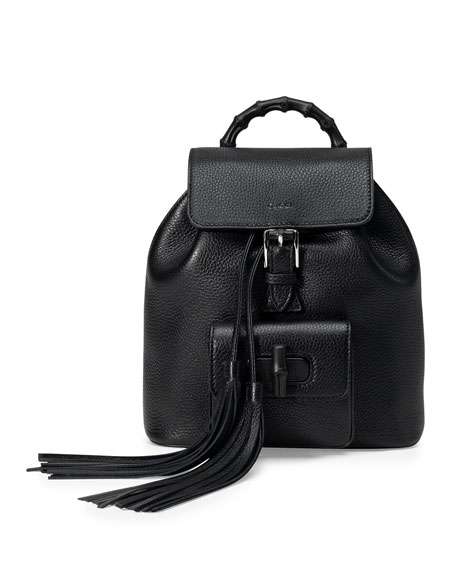 Gucci Bamboo Small Leather Backpack, Black