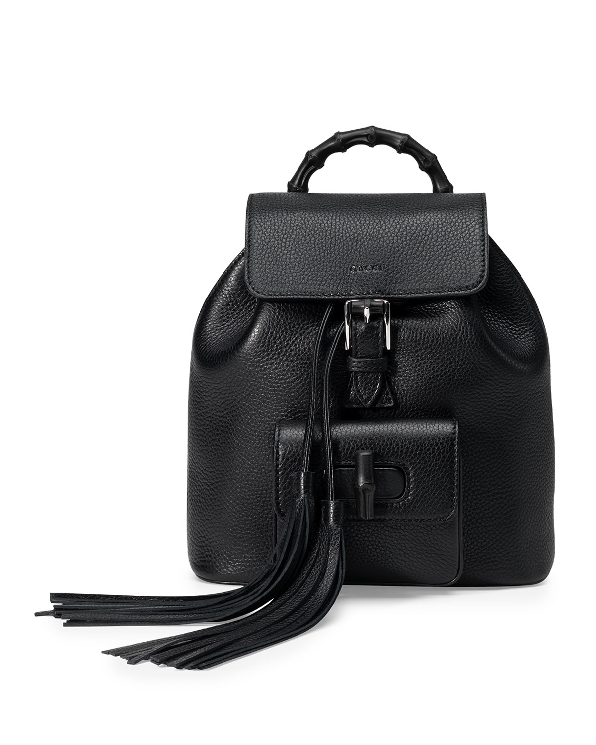 7b740ba283a854 Gucci Bamboo Small Leather Backpack, Black | Neiman Marcus