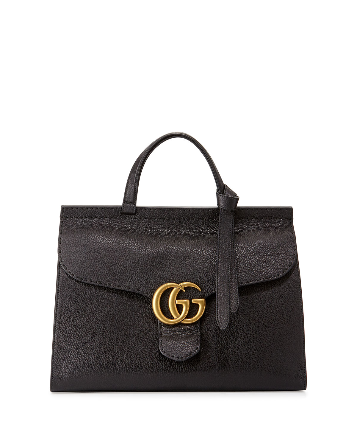 4450a3434f0c Gucci Marmont Large Leather Top-Handle Bag, Black | Neiman Marcus