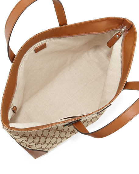 Bridle GG Zip-Top Tote Bag, Brown