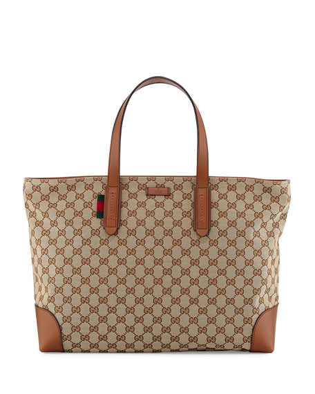 c8c28289930a2b Gucci Bridle GG Zip-Top Tote Bag, Brown | Neiman Marcus