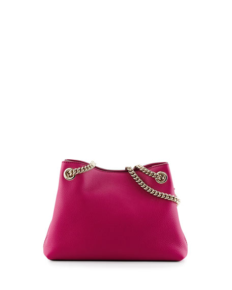 Soho Small Leather Tote Bag w/ Chain Straps, Bright Pink