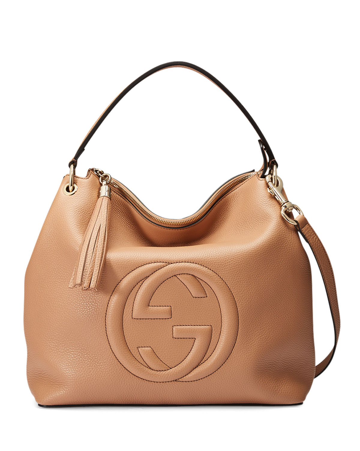 a71693302 Gucci Soho Large Leather Hobo Bag, Camelia | Neiman Marcus