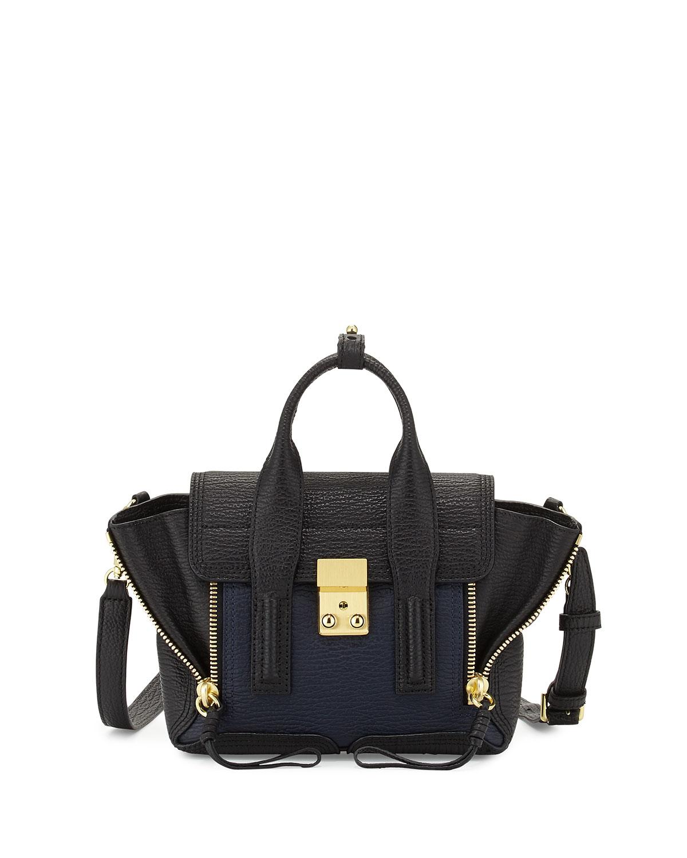 Pashli Mini Leather Satchel Bag Black Ink