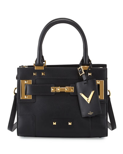 My Rockstud Mini Top-Handle Tote Bag, Black