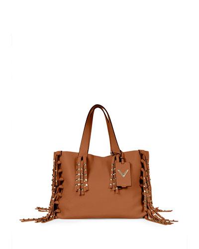 C-Rockee Studded Fringe Tote Bag, Tan
