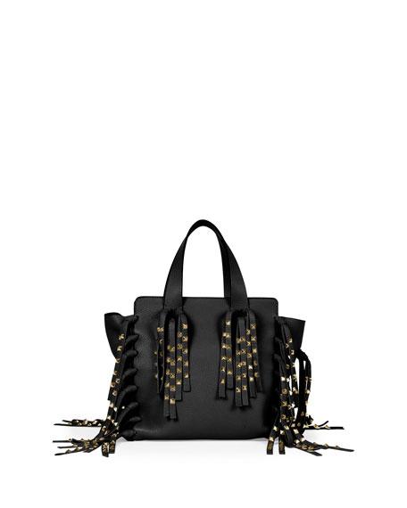 Valentino C-Rockee Micro Studded Fringe Shopper Tote Bag, Black