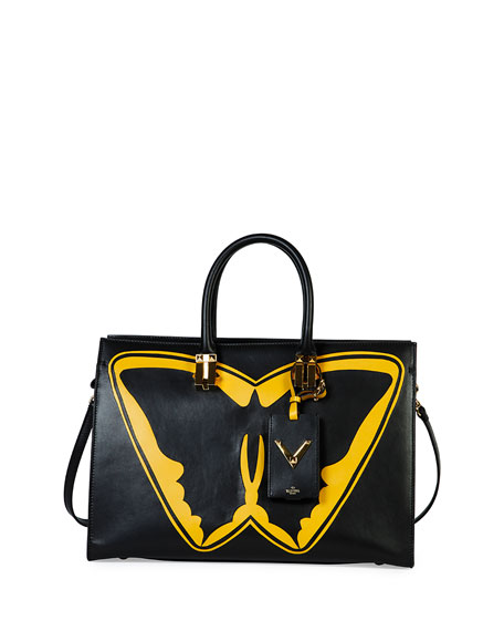 Valentino Superhero Batman Tote Bag, Black/Yellow