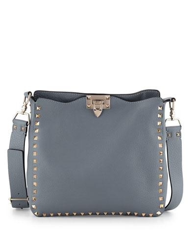 Rockstud Small Messenger Bag, Gray