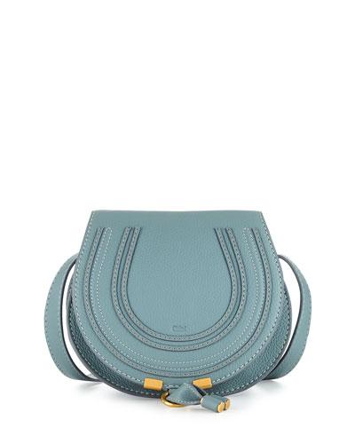 Marcie Small Calf Saddle Bag, Light Blue