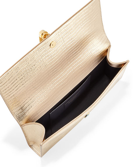 Monogram Lizard-Stamped Clutch Bag, Gold