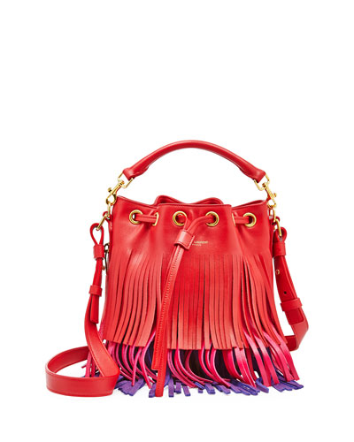 Emmanuelle Tricolor Fringe Bucket Bag, Red/Pink/Purple