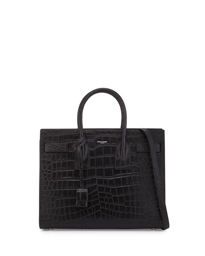 Saint Laurent Sac de Jour Small Crocodile-Stamped Carryall