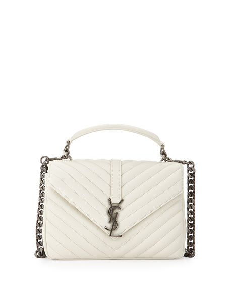 Saint Laurent Monogram College Medium Shoulder Bag, Gray/White