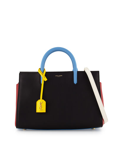 Rive Gauche Small Tote Bag, Black/White/Yellow/Blue
