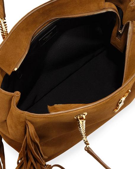 Monogram Fringe Suede Chain-Strap Shopping Tote Bag, Tan