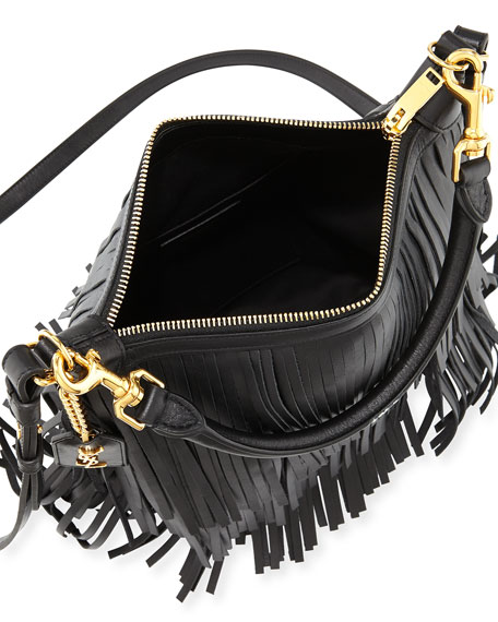 Saint Laurent Emmanuelle Small Leather Fringe Hobo Bag, Black