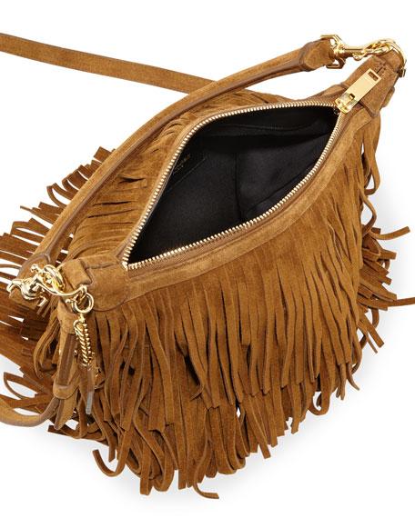 ysl cabas chyc for sale - Saint Laurent Emmanuelle Small Suede Fringe Hobo Bag, Tan