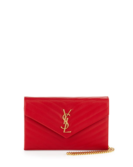 Saint Laurent Monogram Matelasse Wallet-on-Chain, Red