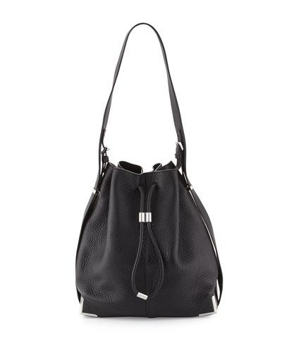 Prisma Drawstring Bucket Bag, Black
