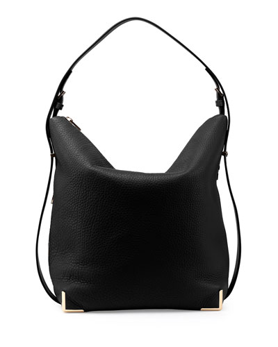Prisma Leather Hobo Bag, Black