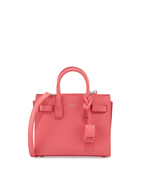 Saint Laurent Sac de Jour Mini Grained Bonded Leather Satchel Bag, Rose ...